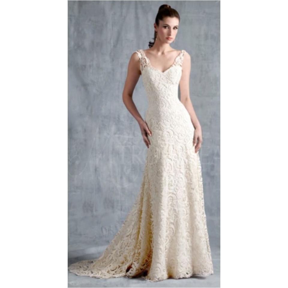 Modern Trousseau Ivory Lace Brynn Modern Wedding Dress Size 6 (S ...
