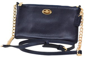 Coach Peddled Leather Chain Strap Mini Cross Body Bag