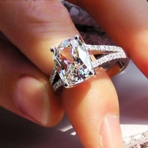Size 4 5 6 7 8 In Stock White Lab Man Made 4.85ct Square Band Pave Wedding Engagement Bridal Proposal Pt950 Ring No Fade