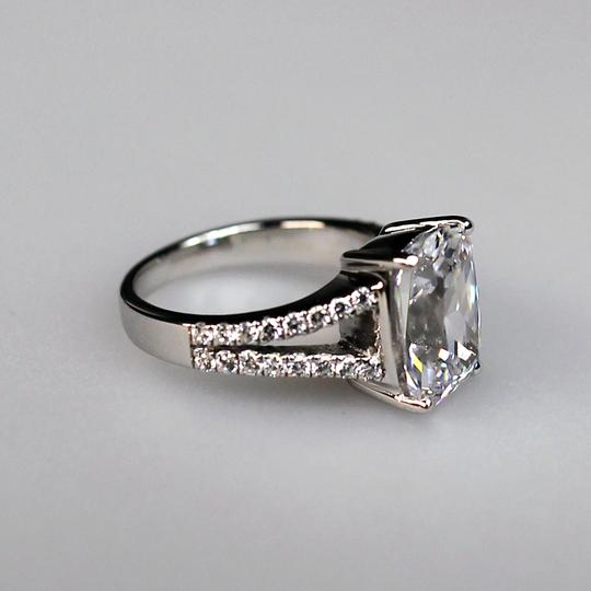 Size 4 5 6 7 8 In Stock White Lab Man Made 4.85ct Square Band Pave Proposal Pt950 No Fade Engagement Ring