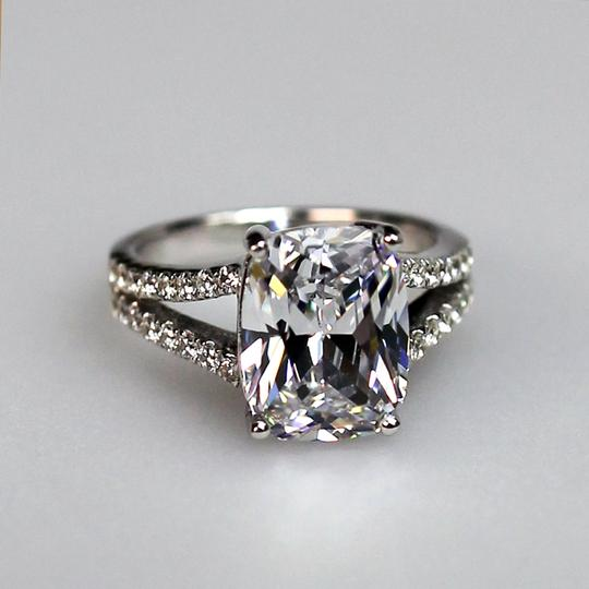 Size 4 5 6 7 8 In Stock White Lab Man Made 4.85ct Square Band Pave Proposal Pt950 Platinum No Fade Gold Tarnish Huge Engagement Rings