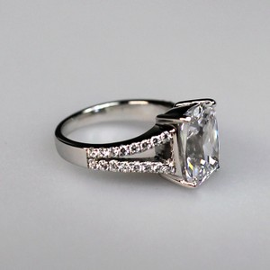 Size 6.5 White Lab Man Made 4.85ct Square Band Pave Pt950 Ring No Fade