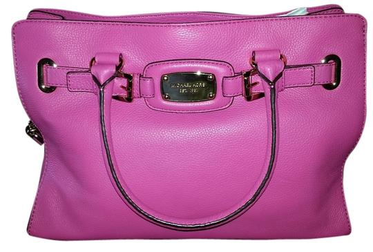 MICHAEL Michael Kors Leather Satchel Hamilton Tote in Zinnia Pink