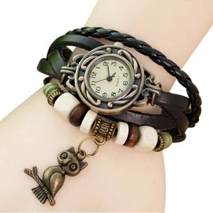 Other Brown Leather Bronze Quartz Watch Owl Charm Free Shipping