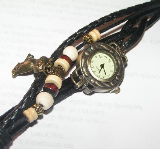 Other BOGO Brown Leather Bronze Quartz Watch Owl Charm Free Shipping