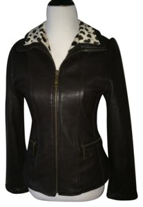 Siena Studio Black, snow leopard print Leather Jacket