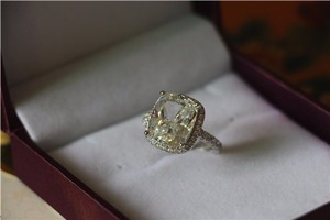 All Sizes Vvs1 3ct Cushion Cut 4 5 6 7 8 Enagement Sona Nscd Diamond Proposal Cushion Square Engagement Ring Pt950