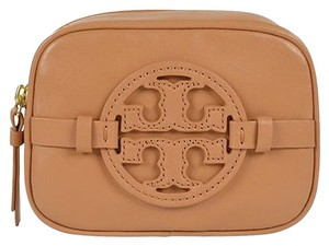 Tory Burch Tory Burch Classic Holly Cosmetic Makeup Case with Signature Logo Tan