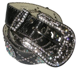Katydid Sleek Black Leather Blue AB Rhinestone Concho Belt Free Shipping