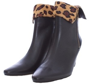 Kate Spade Leather Fur Leopard Wedge Zipper BLACK Boots