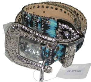 Katydid Black Leather Turquoise Indian Patterned Bling Western Belt XL Free Shipping