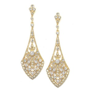 14k Gold Jewel-encrusted Vintage Cz Bridal Earrings