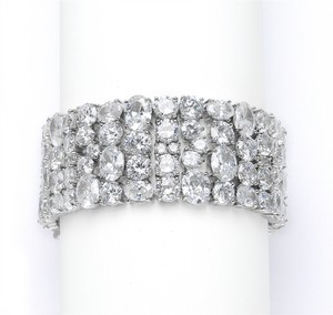 Silver/Rhodium Hollywood Glamour Crystal Couture Bracelet
