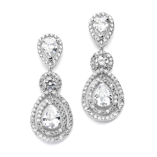 Silver/Rhodium Aaa Cz Stunning Brilliant Crystals Statement Earrings