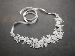 Beaded Lace Flowers Bridal Headband