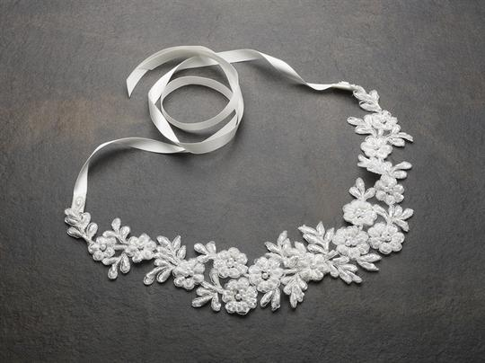 White Or Ivory Beaded Lace Flowers Headband Hair Accessory