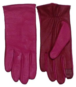 Kate Spade Kate Spade New York Red & Pink Colorblock Leather Gloves 7.5