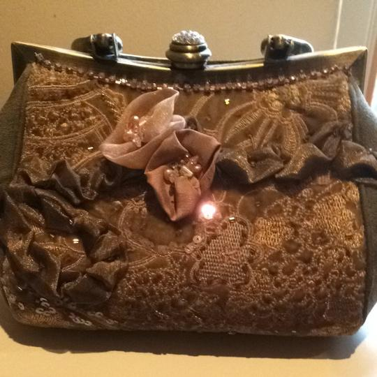 Mary Frances Olive,bronze,pink Clutch
