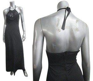 VINTAGE Black Maxi Dress by Other Disco Halter Mod Crochet