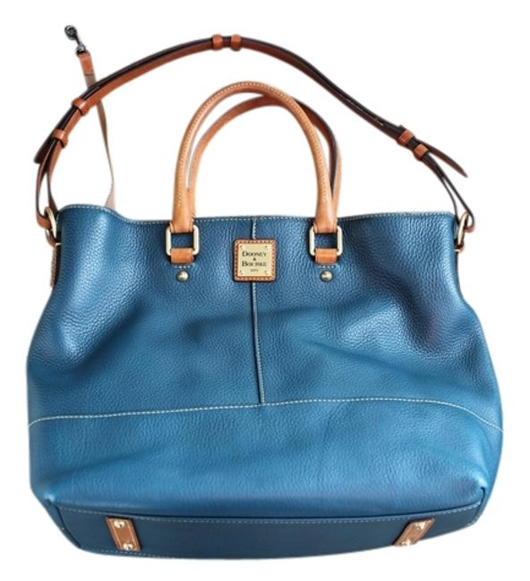Item - Tote Davis Pebble Grain Blue/Green Blue/Green/Teal Tan with Gold Accents Leather Shoulder Bag