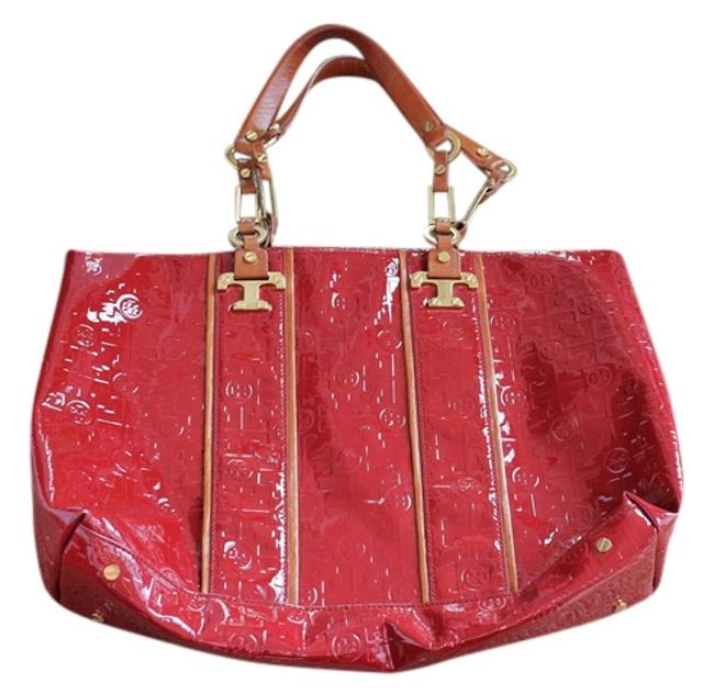 Item - Brick Red Tan & Gold Patent Leather Tote