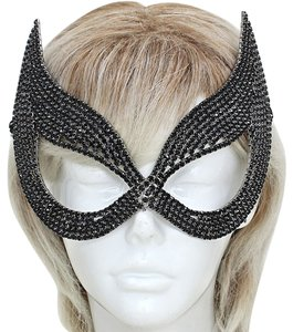 Venetian Goddess Black Rhinestone Crystal Mask
