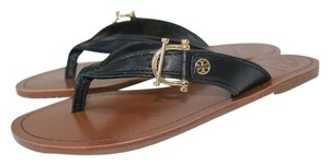 Tory Burch 7.5 Logo Sandals Gold Hardware Thong 90008645 887712781317 Leather Sandal Flip Flop Nwt New With Tags Black Flats