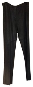 BCBGMAXAZRIA Bcbg Leather Zip Front Long Tall Straight Pants Black Leather
