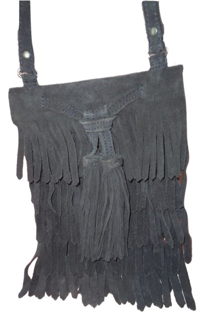 Item - Trafaluc Boho Chic Blue Ultra Fringed X-body Navy Suede Messenger Bag