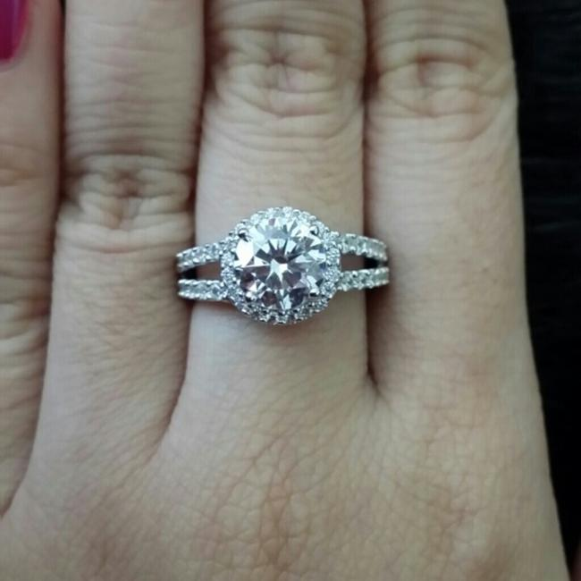4.5 5 6 7 8 Size 2ct Halo Round Band Diamond Engagement Halo Round Band Proposal New Certified Nscd Ring Image 1