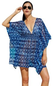 Jessica Simpson JESSICA SIMPSON NAVY IKAT BATWING TUNIC SWIMSUIT COVER UP XL