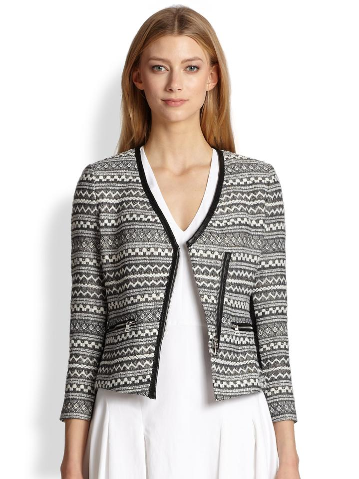 Rebecca Taylor Black And White Tweed Femme Fancy Jacket Size 4 S 80 Off Retail