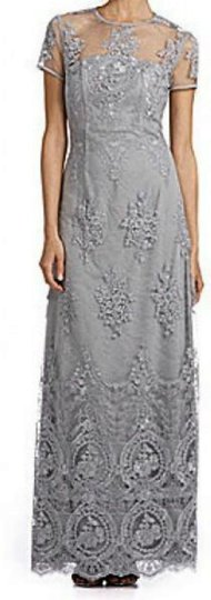 JS Collections Silver Gown Formal Dress Size 14 (L)
