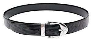 Louis Vuitton LOUIS VUITTON Black 100% 'EPI' Leather Belt w/Silver Buckle - 44
