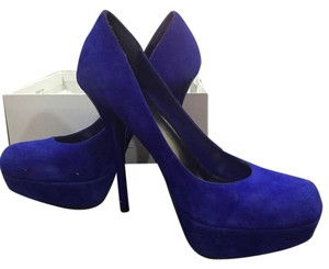 Bakers Suede Chunky Royal Blue Pumps