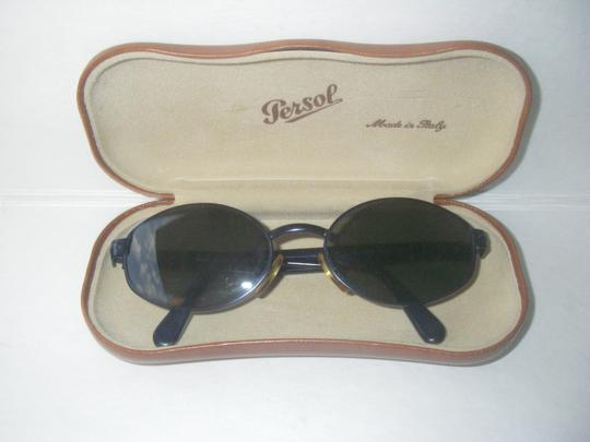 Persol Persol 2042-S Sunglasses Original Vintage Midnight Blue Meflecto Frame Green Glass Persol Lenses Made in Italy