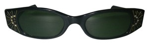 Frame France Art Deco Sunglasses Vintage 1960s Made in France Black Frame Green Lenses Crystal Trim