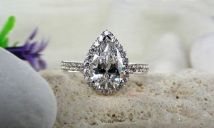 4.5 5 6 7 8 Size Band Wedding Diamond Engagement Halo Round Band Ring Wedding Proposal New Certified Nscd Sona Pt950 3