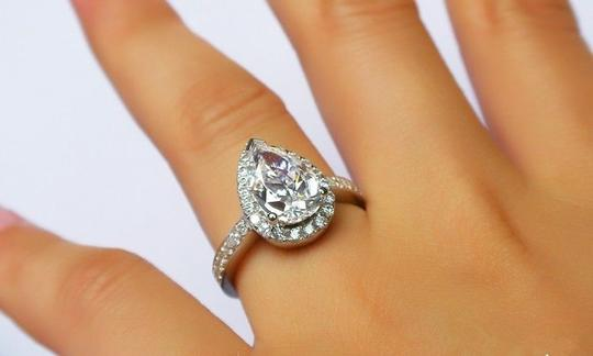 4.5 5 6 7 8 Size Band Diamond Engagement Halo Round Band Proposal New Certified Nscd Sona Pt950 3 Ring