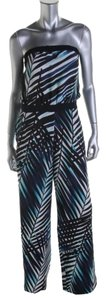 Trina Turk TRINA TURK NAVY AND BLUES PRINTED STRAPLESS CUT OUT JUMPSUIT 0 NWT