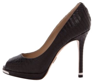 Michael Kors Collection Brenda Genuine Leather Snakeskin Peep Toe Pumps Heels Stilettos Designer Luxury Sale Cuero Cuir Noir Black Platforms