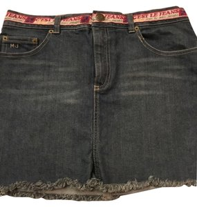 Marc Jacobs Denim Fringe Hem Details Jeans Designer Mini Skirt