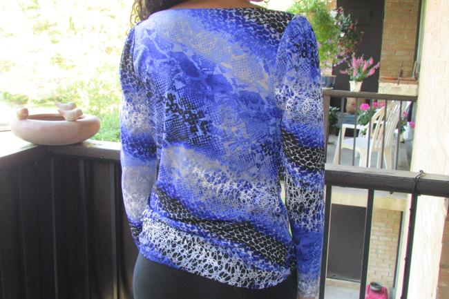 Worthington Long Sleeve Multi Print Size Small Polyester And Spandex Top purple/black/gray