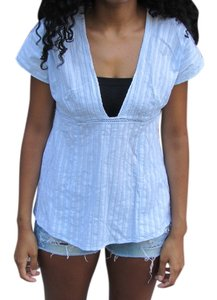 Earl Jean Short Sleeve Deep V Neck Cotton Top light blue