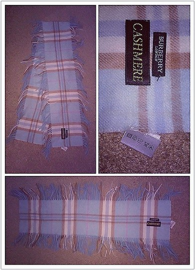 Burberry Burberry Nova Check Baby Blue Cashmere Wool Happy Scarf