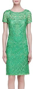 Sue Wong Short Sleeve Embroidered Lace Dress