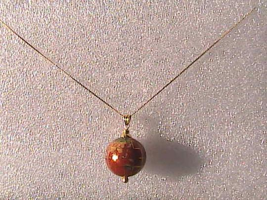 Other 14k Yellow Gold Globe Cloisonne Pendant Necklace