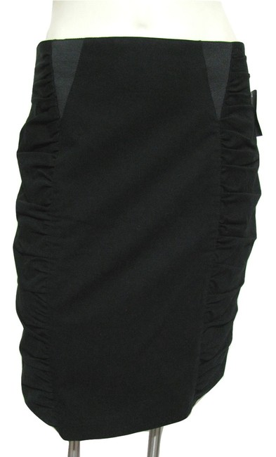 Nanette Lepore Women 8 M Medium Ruched Textured Gathered Sides Madeinusa Usa Pencil Straight New Nwt Withtag Skirt black