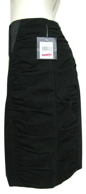 Nanette Lepore Women 8 M Medium Ruched Textured Gathered Sides Cotton Madeinusa Usa Pencil Straight New Withtag Skirt black