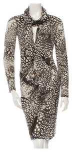 Emilio Pucci Longsleeve Square Neck Print Brown Ivory Animal Print Belt Wool V-neck Dress
